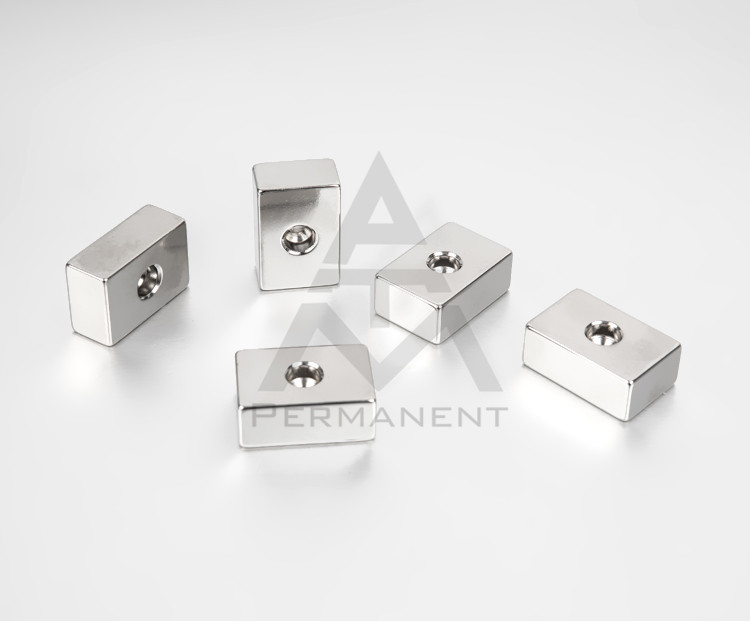 Block rare earth magnet nickel coating with hole